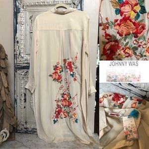 New with Tags Johnny Was Embroidered maxi shirt